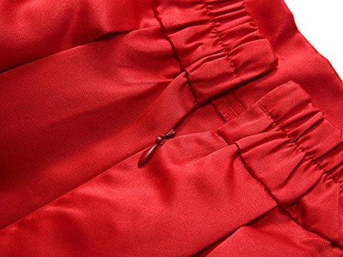 CoutureBridal® Femme Jupe Casual Longue Femme Maxi pour Soirée Haute Taille Satin rouge vineux