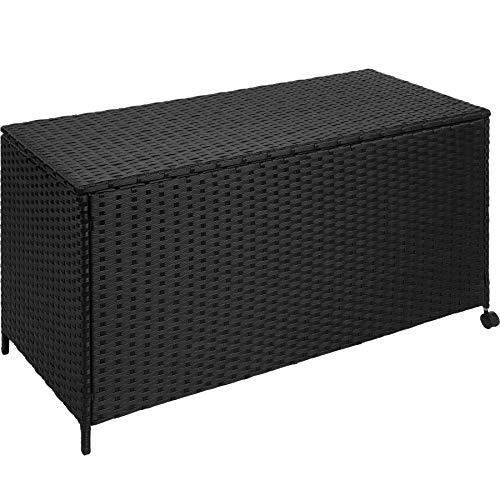 TecTake Caja de Almacenamiento Aluminio Poli ratán jardín Mimbre para Cojines + Ruedas | 117 x 54,5...