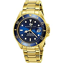 Montre de plongée «Spécialité Aqua Master Professional» Henry Jay pour Homme en acier inoxydable plaque or 23K