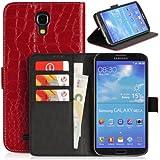 Handyhülle   Tasche   Cover   Case für das Samsung Galaxy Mega 6.3 / I9200 / I9205 von DONZO in Rot Wallet Kroko-Style als Etui seitlich aufklappbar im Book-Style mit Kartenfach nutzbar als Geldbörse