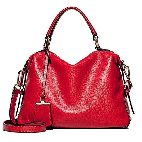 Borsa Della Borsa Del Messaggero Della Spalla Delle Borse Di WU ZHI Ms. PU Boston Handbags Red