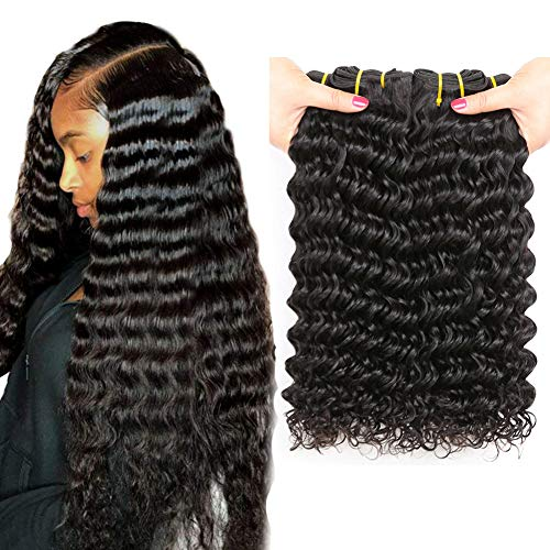 Deep Wave Hair Bundles 12 14 16 inch 300grams Unprocessed Virgin Human Hair Extensions Locken Echthaar Brasilianisch Haar Bündel Tiefen Welle Brazilian Deep Curly Hair ()