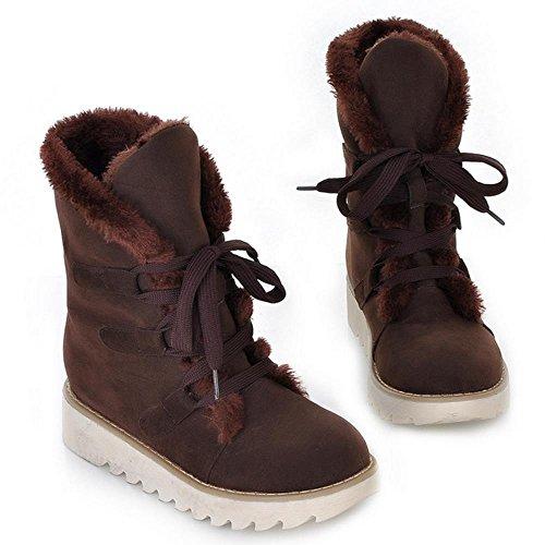RAZAMAZA Femmes Hiver chaudes Bottines Chaussures de ville a lacets brown