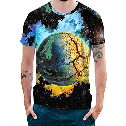 GreatestPAK Herren T-Shirts 3D Star Print Sommer Tee Top Bluse,M,Blau (Print Star Tee)