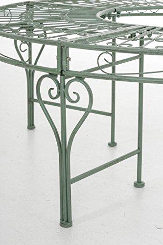 CLP 360° Metall Baum-Bank NYIMA ohne Lehne, rund Ø ca. 57 cm / 130 cm (innen/außen), Landhausstil, lackiertes Eisen, bis zu 6 Farben wählbar Antik Grün - 6