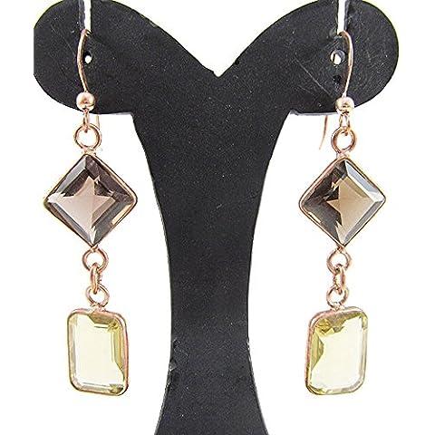 Argento 925, oro rosa placcato con Smoky Quartz & LIMONE TOPAZ gemme orecchini