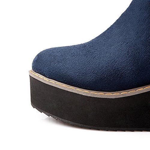 VogueZone009 Femme Rond Haut Élevé à Talon Correct Couleur Unie Suédé Bottes Bleu