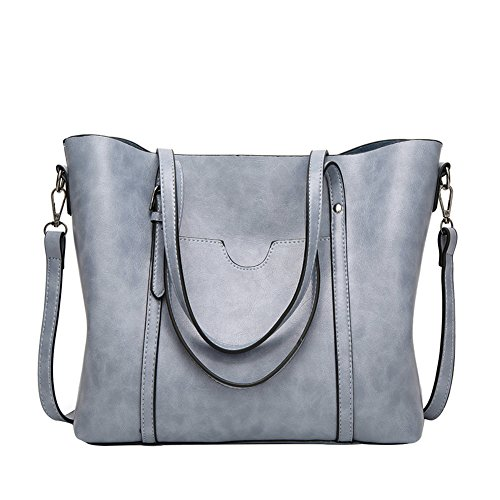 PB-SOAR Damen Elegant Shopper Schultertasche Umhängetasche Ledertasche Handtasche Henkeltasche 30x26x12cm (B x H x T) (Rosa) Blaugrau