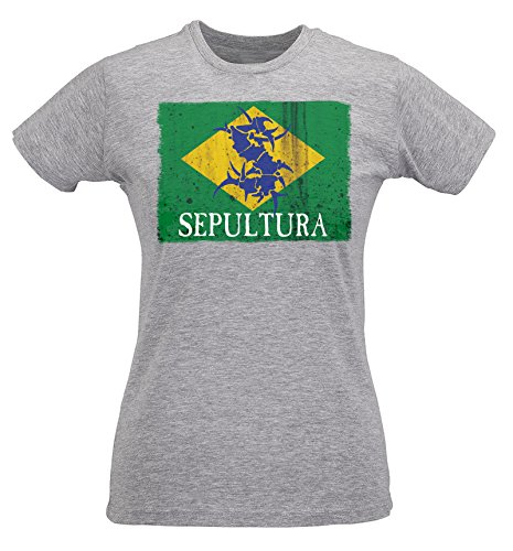 LaMAGLIERIA Damen-T-Shirt Slim Sepultura Brasil Flag - Maglietta 100% Baumwolle Ring Spun, M, Grau - Brasil Flag T-shirt