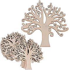 Idea Regalo - (12.4 * 12.4cm) 20 pz Albero Decorativi Pendenti Legno Abbellimenti Ornamenti da Appendere Decorazioni Fai da te Matrimonio Nozze Natale