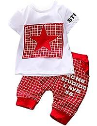 Zarupeng 2 Unids Niño Infantil Niños Letra de la Muchacha de Impresión A Cuadros Plaid Tops + Pants Outfits Clothes Set
