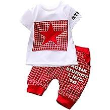 Zarupeng 2 Unids Ni/ño Infantil Ni/ños Letra de la Muchacha de Impresi/ón A Cuadros Plaid Tops Pants Outfits Clothes Set