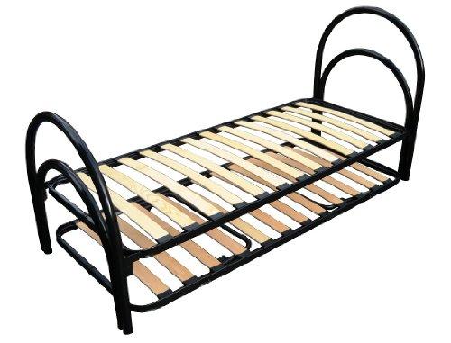 Set 2 posti letto cicogna in ferro nero con rete + rete doghe a scomparsa 80x190 singolo