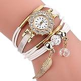 Dinglong femmes bracelet montre or quartz cadeau montre montre-bracelet femmes robe cuir Casual bracelet montres (Blanc)