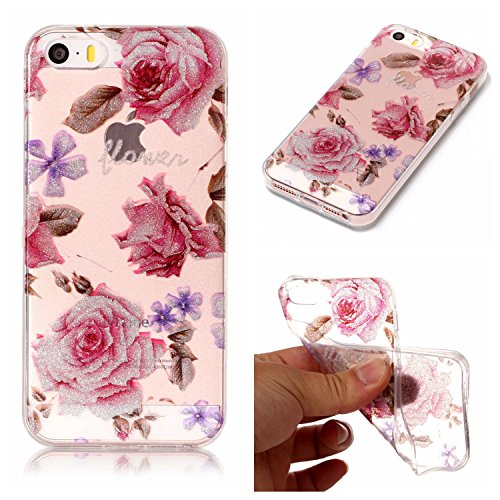 iphone 5 Hülle, iphone 5s Schutzhülle Case Silikon,Cozy Hut® Sparkling Series Transparent Weiche Silikon Malerei Muster Hülle [Crystal Klar] TPU Bumper Case Blühende Blumen Design Schutzhülle für iphone se/5/5s - Crystal Clear Ultra Dünn Durchsichtige Backcover Handyhülle TPU Case für iphone se/5/5s,iphone SE Case, iphone 5/5s Cover - Rose