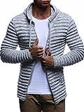 LEIF NELSON Herren Hoodie Strickjacke Kapuzenpullover Jacke Hoody Sweatjacke Zipper Sweatshirt Longsleeve LN20724; Größe XXL, Grau (Textilien)