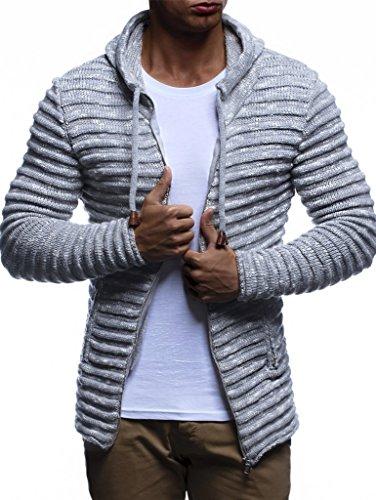 Preisvergleich Produktbild LEIF NELSON Herren Hoodie Strickjacke Kapuzenpullover Jacke Hoody Sweatjacke Zipper Sweatshirt Longsleeve LN20724; Größe XL, Grau