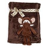smileBaby superweiche Babydecke besonders kuschelig 100x75cm dunkelbraun Elefant