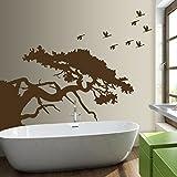 denoda Asiatischer Baum - Wandtattoo Dunkelgrün 63 x 50 cm (Wandsticker Wanddekoration Wohndeko Wohnzimmer Kinderzimmer Schlafzimmer Wand Aufkleber)