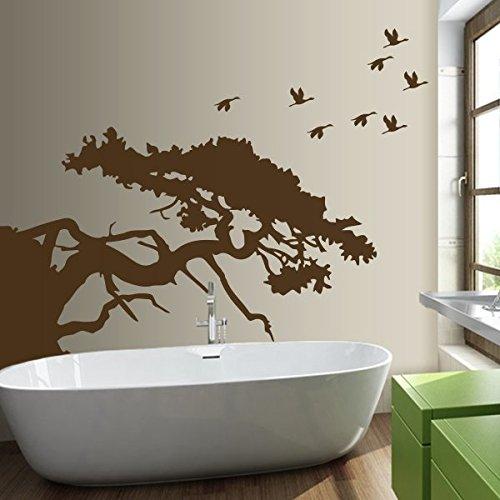 denoda Asiatischer Baum - Wandtattoo Schwarz 126 x 100 cm (Wandsticker Wanddekoration Wohndeko Wohnzimmer Kinderzimmer Schlafzimmer Wand Aufkleber) (Schwarz Spiegel Asiatischen)
