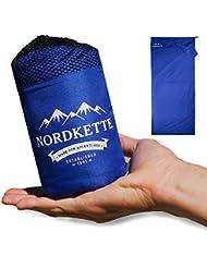 Nordkette™ Hüttenschlafsack aus Mikrofaser mit Reißverschluss leicht, Schlafsack-Inlett, seidig weiche Mikrofaser, Schlafsack Inlay, Sommerschlafsack, Reiseschlafsack dünn, leicht & kompakt