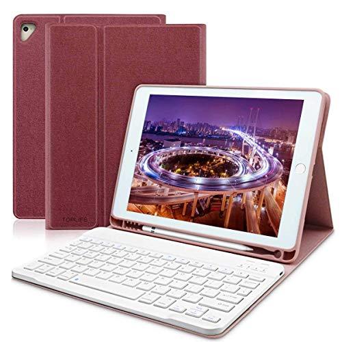 COO Funda Teclado iPad 2018, Funda iPad 9.7 con Teclado Español (Incluye Letra Ñ) Bluetooth y Ranura para Lápiz para iPad 2018(6th Gen)/iPad 2017/iPad Pro 9.7/iPad Air 2/1-Soporte Multiángulo (Rojo)