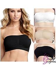3 pack de dames sexy bandeau sans bretelles sans coutures souple tube style de soutien-gorge