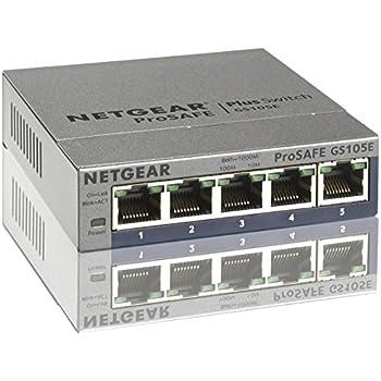 Netgear GS105E-200PES 5-Port Smart Managed Plus Gigabit Switch (ProSAFE, bis 2000 MBit/s, Plug-and-Play & konfigurierbar, VLAN, QoS/DoS) Grau