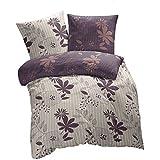 Fiona Flores - SoulBedroom Juego de cama, 100% Algodón (funda de edredón 230x220 cm y 2 fundas de almohada 50x75 cm) / cama de 150 cm (matrimonio)