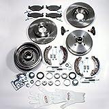 Bremsscheiben + Bremsbeläge für vorne + Bremstrommeln mit integrierten ABS Ringen + Bremsbacken + Radlager + Radbremszylinder + Zubehör für hinten