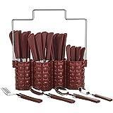Kunj Enterprise Trendy Emperor Cutlery Set - Spoon Set - Spoon Stand - 25-Pieces - TrendyBrown