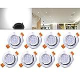 HENGDA 8er 7W LED Spot Einbauleuchte Kaltweiß Einbau Strahler Set Decken Lampe