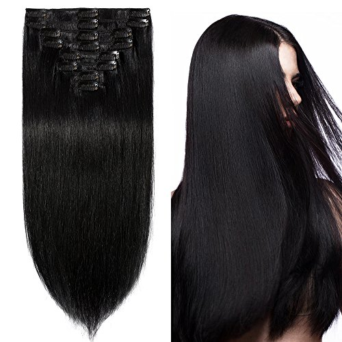20cm-55cm extension clip 100% remy human hair capelli veri tessitura con clips full head parrucca vera (20cm-65g #1 jet nero)