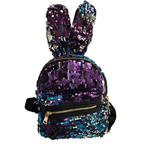 Longra Donna Moda sveglia, sacchetto di spalla dei sequins, coniglio femminile, grande orecchio, mini zaino Blu