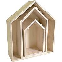 Artemio 14001999 Set de 3 Etagères Maison à Décorer, Bois, Beige, 30 x 10 x 34,5 cm