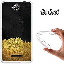BeCool® - Funda Gel Flexible Vodafone Smart 4 Max Arena Dorada Carcasa Case Silicona TPU Suave