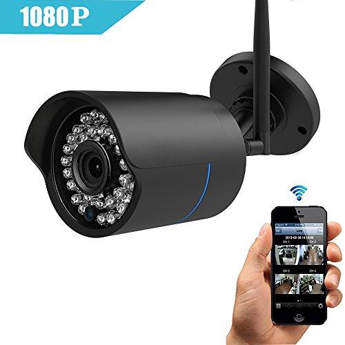 IP Kamera 1080P HUAYUU Überwachungskamera 1080P HD WLAN IP Kamera für Außen Wasserdicht Wlan Kamera für Außen/IP überwachungskamera/IP cam mit LAN & Wlan/Wifi für Outdoor/Indoor,Bewegungserkennung, Unterstützung FTP,Bis zu 128GB SD Karte-schwarz