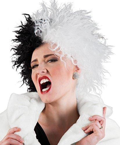 ,Karneval Klamotten' Kostüm Perücke Dame Cruella schwarz-weiss Zubehör Karneval ()