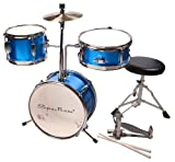 Spectrum AIL 620B 3-teiliges Junior Drum Set mit-Crash Becken und Drum Thron, Electric Blue