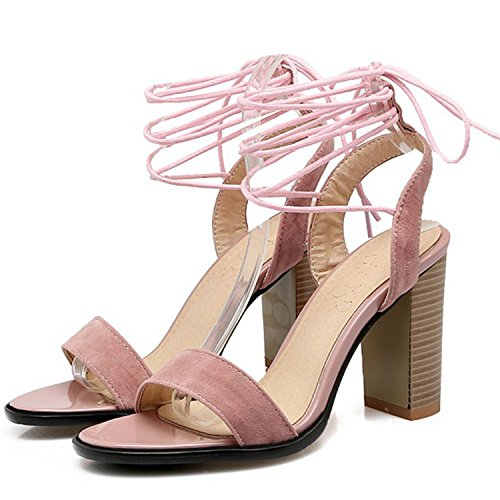 Oasap Women's Open Toe Lace up Block Heels Sandals Pink