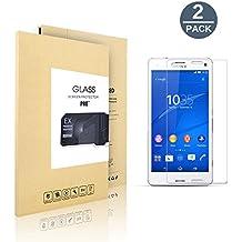 [2 Pack]Sony Xperia Z3 protector de pantalla,Protector de pantalla de vidrio templado para Sony Xperia Z3, transparente(Dureza de Grado 9H, Espesor 0,26 mm, 2.5D Round Edge)
