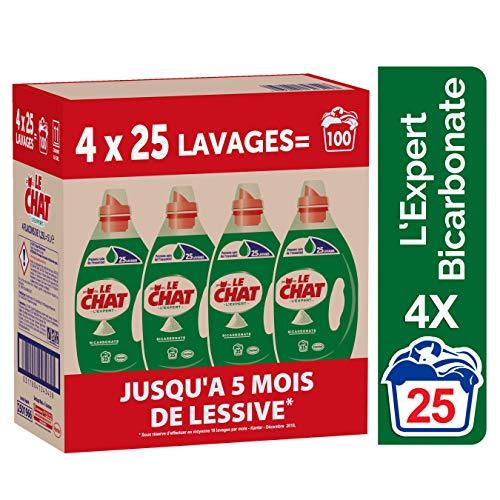 Le Chat L'expert Bicarbonate - Lessive Liquide - 100 Lavages (4 x 1.25L)