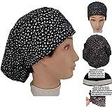 Gorro de quirófano para Mujer Florecillas Negras Para pelo largo Absorbente en la frente ajuste con goma y tensor
