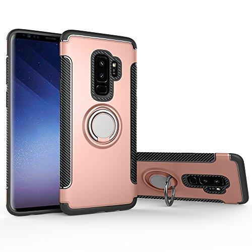 Shinyzone Ring Halter Ständer Hülle für Samsung Galaxy S9 Plus,[Kohlefaser Anti-Rutsch][Kompatibel mit Magnetischer Autohalterung] Dual Layer TPU + PC Design Schutzhülle-Roségold -