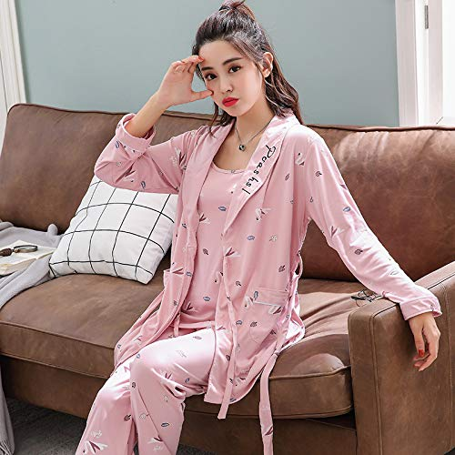 HAOLIEQUAN 3 Piece Set Pajamas for Women Women Stripe Print Knitting Cotton Sleepwear Set Long Sleeve Elastic Waist Lounge Pyjamas,905Dousha,XL