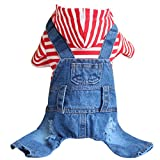 Ai.Moichien Hunde Kleidung Hoodied mit Blue Jeans Overalls Hosen Overall