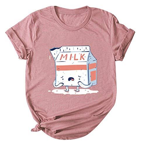 TEFIIR T-Shirt für Frauen, Mitgliedertag Sommer-Räumungsabwicklung,günstige Preisaktion Fashion WomensO-Neck Kurzarm-Taschensack Plus Size Cotton Tee Casual Top Geeignet für Freizeit und Dating -