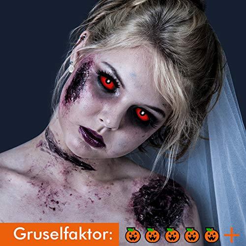 Sclera Kostüm Kontaktlinsen - KOH-Funlinsen Devil RED Sclera-Markenqualität- 1 PAAR-D-22mm-rot Linsen,Cosplay, Larp, Zombie, Kontaktlinsen, Crazy Funlinsen, Halloween, Fastnacht,Vampir