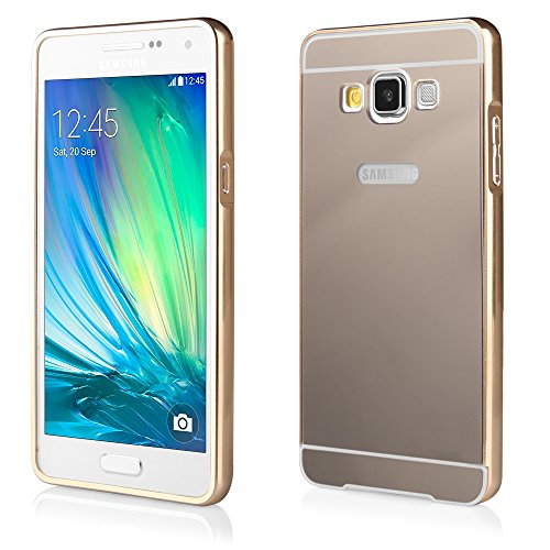 BUMPER LUXURY + Deckel SPIEGEL für Samsung Galaxy A5 A500F SM-A500H SM-A500FU Galaxy A5 LTE A5 Duos Handytasche Hülle Cover Case Schutzhülle Tasche (gold)