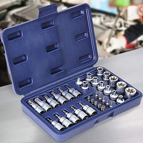 TIMBERTECH 34-tlg. Torx Steckschlüssel Satz | Nüsse Set | Nusssatz | Stecknüsse | Biteinsätze | Steckschlüsseleinsätze | Bits, Torxset, Torxsatz, Innen/Außen Werkzeug